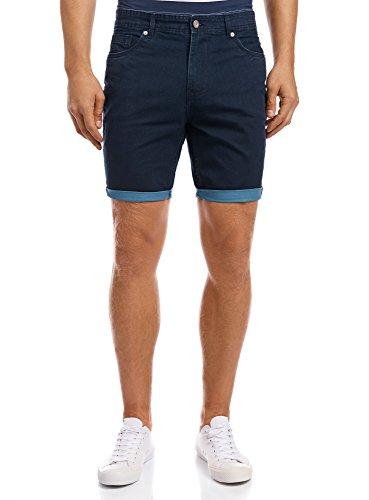 oodji Ultra Uomo Pantaloncini in Cotone 5 Tasche, Blu, IT 52 / EU 48 / XL