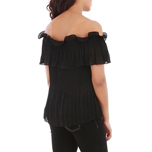 La Modeuse - Top femme ample à épaules dénudées Noir