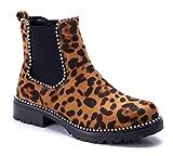 Schuhtempel24 Damen Schuhe Klassische Stiefeletten Stiefel Boots Camel Blockabsatz schlupf/Leo/Nieten 3 cm