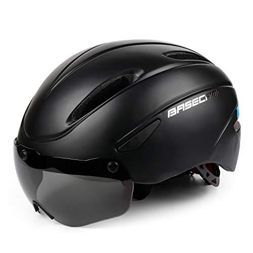 Kinglead casques de vélo, certifié CE, réglable, avec visière lunette magnétique amovible, Noir