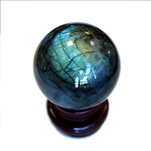 FENGJJ Crystal Ball - natürliche Labradorit Ball Crystal Ball Dekoration, Grauer Mondstein heilende Stein Stein Ball Ornament, Moderne Wohnaccessoires Büro Dekoration,8cm (Mondstein-statue)