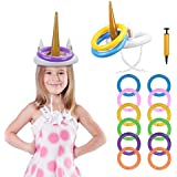 PATAZOK Inflatable Unicorn Ring Inflatable Unicorn Hat Toss Game with 12 Pcs Inflatable Rings Pool Party Favors Themed Party Supplies Decoration Indoor Outdoor Game Toys Kids Gifts