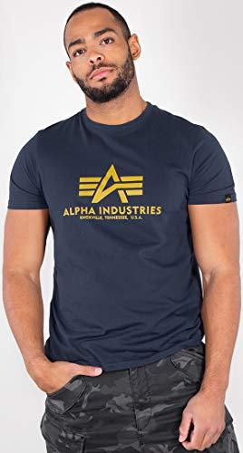 Alpha Industries Basic T-Shirt Dunkelblau/Gelb XXL -