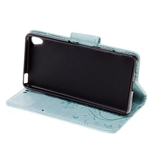 Sony Xperia XA Cover Protettiva, Alfort 2 in 1 Custodia in Pelle Verniciata Goffrata Farfalle e Fiori Alta qualità Cuoio Flip Stand Case per la Custodia Sony Xperia XA Ci sono Funzioni di Supporto e P Verde