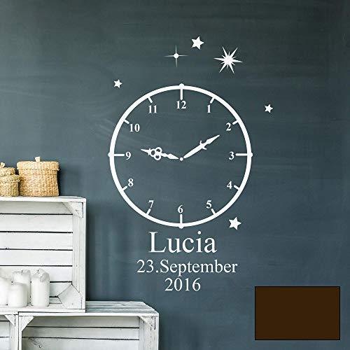 Wandtattoo Geburt Geburtszeit Uhr Wunschdaten Geburtsdaten Name Sterne M2460 - ausgewählte Farbe: *Schokolade* ausgewählte Größe: *XS - 30cm hoch x 18cm breit*