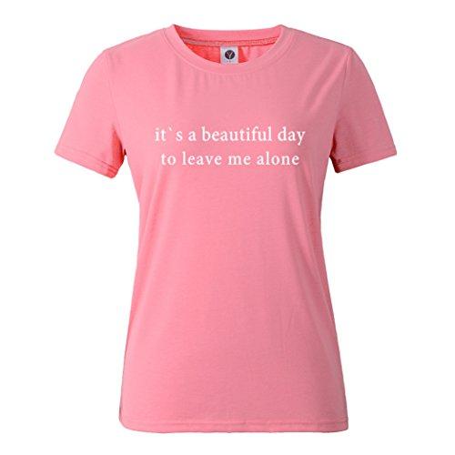 Yeesea Donna Estate Casual Manica Corta Stampato Camicetta T Shirt Tops Rosa