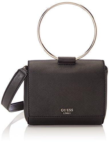 Guess Gefütterte Umhängetasche (Guess Damen Bags Hobo Shopper, Schwarz (Black), 9.5x15x17.5 centimeters)