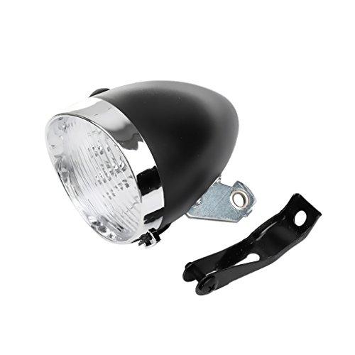 Gazechimp LED Luz Delantero de Bicicleta Retro Accesorio Frontal de Soporte de Vendimia 3 Faros Lámpara de Ciclismo - Plata