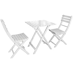 Dehner Balkonset Provence, Tisch ca. 71 x 60 x 60 cm, 2 Stühle je ca. 86 x 50 x 40 cm, FSC Akazienholz, weiß