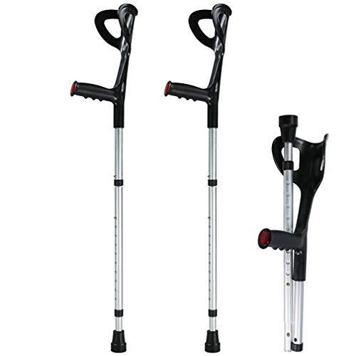 Dr.Lefran Komfort-Krücken, breite und Flexible Spitze, höhenverstellbare Krücke, Faltbare Aluminium-Krücke für Erwachsene,2Pcs - Faltbare Krücken