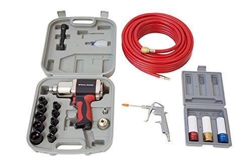 STAHLMANN Profi Druckluft SET 16-tlg inkl. Schlagschrauber für Druckluft-Kompressor