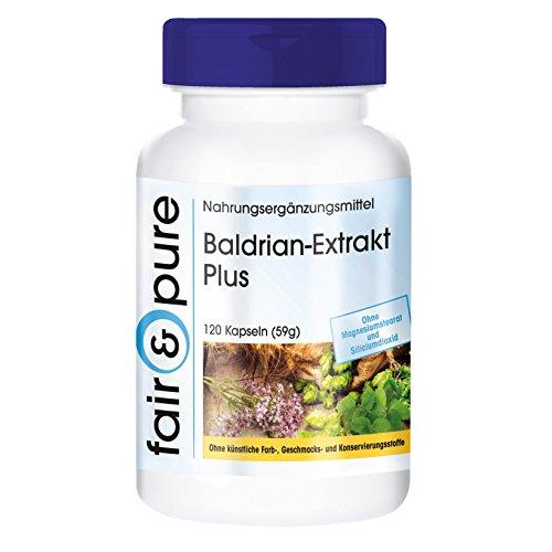 Baldrian-Extrakt Plus - mit Hopfen und Melisse - vegan - ohne Magnesiumstearat - 120 Baldrian-Kapseln