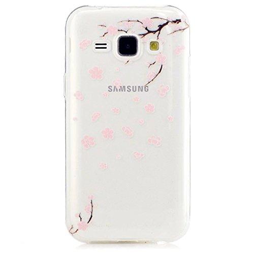 MUTOUREN Coque TPU pour Samsung Galaxy J1 (2015) J100 J100H Pouces Smartphone -Peach blossom Dessin de Fleurs de Pêche Transparent Gel Bumper Téléphone Silicone Étui Housse Protecteur