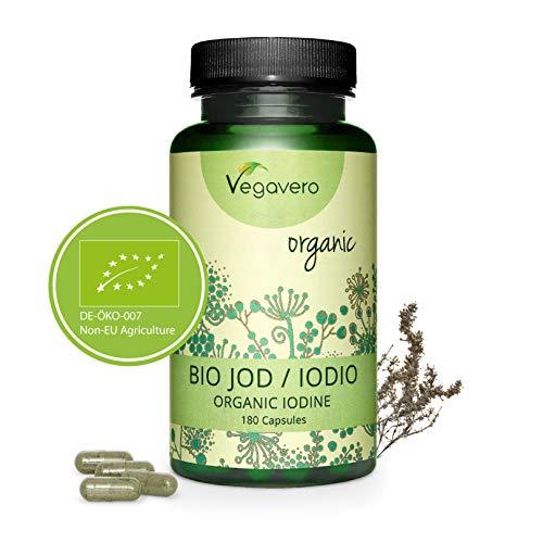 VEGAVERO® Bio Kelp (Natürliches Jod) | 100% BIO | Kapseln statt Jod Tabletten - OHNE Zusatzstoffe | Laborgeprüft | Braunalgen aus Kanada | Optimal dosiert | 180 Kapseln | Vegan