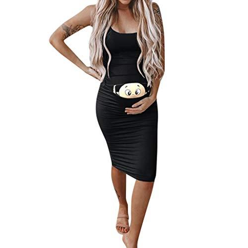 Vestidos para Mujer sin Mangas Ropa premamá Mamá Tirantes Larga Falda de Verano Personalizadas Dibujos Animados Moda Estampado Color Sólido Cómodo Transpirables MMUJERY