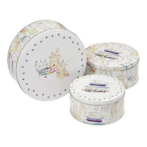 Cooksmart Dessus Motif chats de cuisine Cupcake Cup Cake Cookie Biscuit Boîte de rangement Boîte cadeau, Set of 3 Sizes
