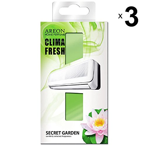 Areon Clima Fresh Air Freshener Home Garden Secret Air Conditioner Green Original Perfume Home Living Room Office Room Shop Durable Modern Scent (Secret Garden Pack 3)