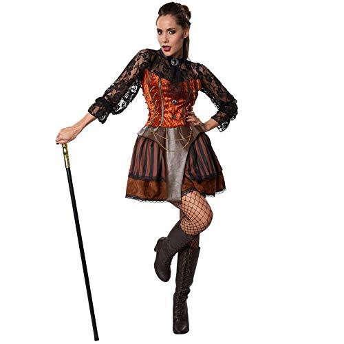 dressforfun 900486 - Disfraz de Mujer Condesa Steampunk, Precioso Vestido en Tonos Marrones (XL | No. 302313)