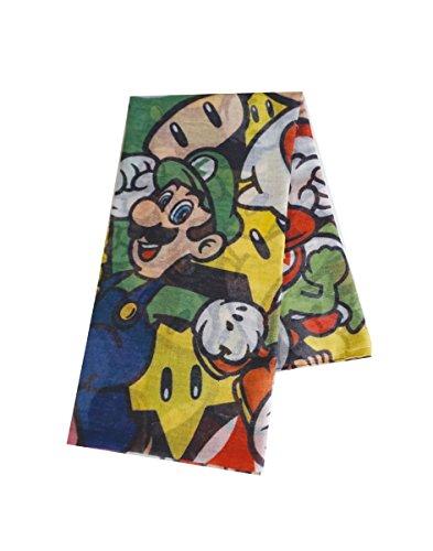 Meroncourt Unisex Nintendo Super Mario Bros. Woman's All-Over Characters Fashion Scarf Schal, Mehrfarbig, Einheitsgröße (Mario Bros Tuch)