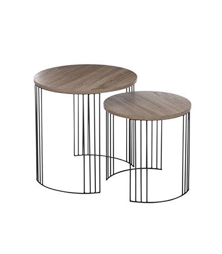 J-line Set de 2 Tables Basses Gigognes en Bois Métal Noir Design