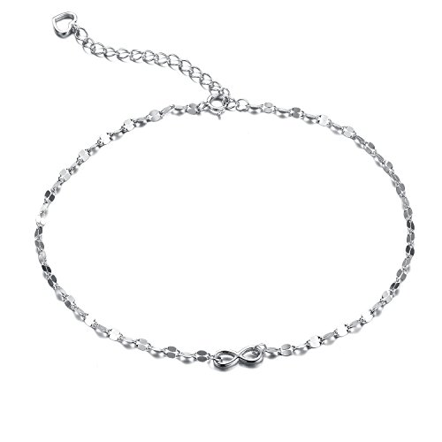 Women's Bow ANKLET with Heart Charm 925 Sterling Silver 28 cm F1515SF