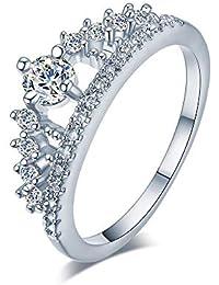 Anillo ajustable para mujer, Moda bonita corona señora anillo de cristal anillo de la princesa