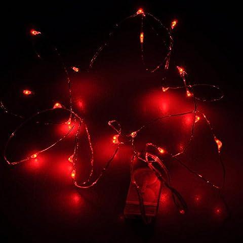 kingtoys® LED Luces de Cuerda 2M luces de Navidad Hadas CR2032 Batería Luces de Alambre de Cobre para la Decoración de la Fiesta de Navidad,