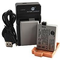 DSTE LP-E5 Li-ion Batterie (2-Pack) et chargeur USB costume pour Canon EOS 450D 500D 1000D Kiss F X2 X3 Rebel XS XSi T1i