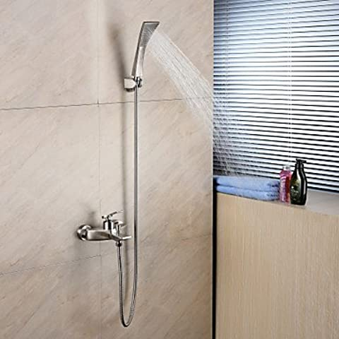 jinrou moderno y elegante mezclador de ducha bañera faucet-contemporary-handshower included-brass (cromo), White + Gray
