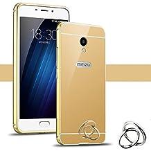 PREVOA Meizu M5 Note - Metal Bumper Frame Funda + Back Plastic Cover Case para Meizu M5 Note - Smartphone 5,5 pulgadas - Oro
