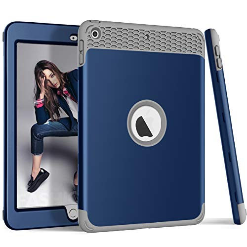 iPad 9.7 2018/2017 Hülle, ZERMU 3-in-1 Wabenmuster, strapazierfähig, stoßfest, Hartplastikhülle + stoßfeste Silikon-Gummi-Schutzhülle, für iPad 6. Generation, Navy-Gray (Survivor Case Griffin 4 Ipad)