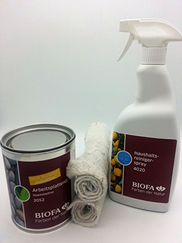Biofa Arbeitsplattenöl 0,75 Liter | Set mit 2 Ölsaugtüchern + Haushaltsreiniger Spray 1 L