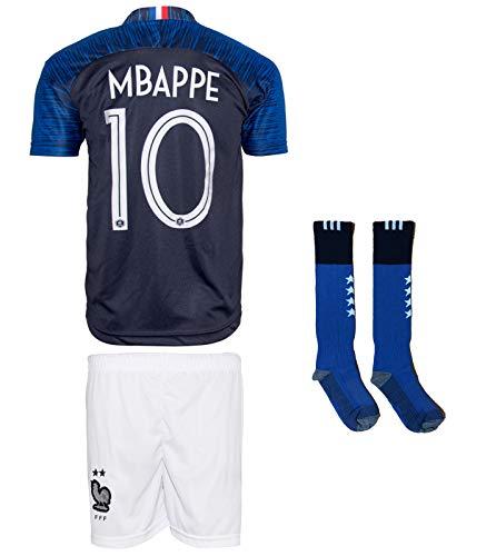 Frankreich Mbappe #10 2018 Heim Trikot und Shorts mit Socken Kinder und Jugend Größe (164-10-11 Jahre, Heim)