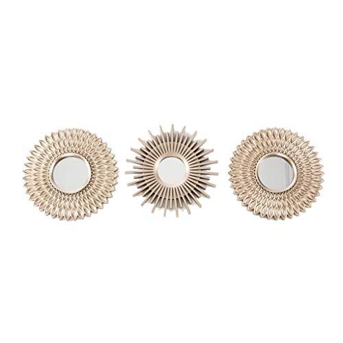Juego de 3 espejos pared decorativos dorado