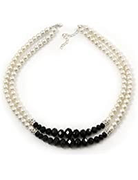 Two Row White Simulated Glass Pearl & Black Crystal Beads Necklace - 46cmc Length /6cm Extension