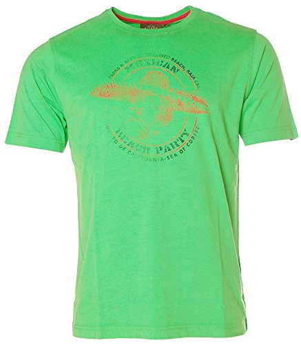 Kitaro Herren Kurzarm Shirt T-Shirt Rundhals Mexican Rosarito Beach Spring Green