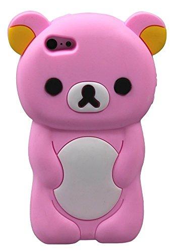 Teddy Bear Étui pour iPhone iPhone 5, 5s, 5c forme 3D en caoutchouc silicone Cartoon Animal Ariana Grande Cache-Style (marron) Pink