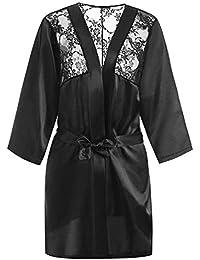 Tallas Grandes 6XL Kimono Seda Satinada Ropa de Dormir Baño Sexy Ropa de Cama Camisón de