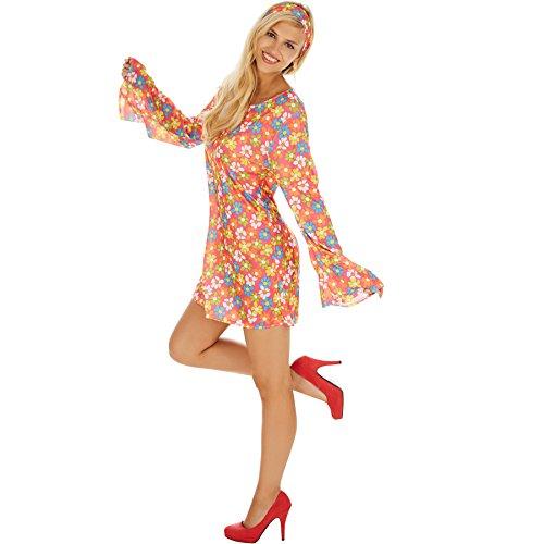 Imagen de disfraz de hippie para mujer de las flores | vestido con un estampado floral muy colorido para un extra de flower power | incl. cinta para el pelo muy estilosa m | no. 300923  alternativa