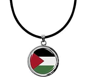 """Pendentif exeptionnel """"drapeau Palestine"""" avec un collier en silicone noire"""