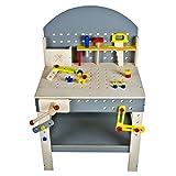 Kid 'n Joy 10245 - Hochwertige Meister Werkbank Hammare aus Holz mit Zubehör, 39-teilig