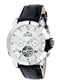 Lindberg&Sons LS903 - Reloj analógico automático para hombre con correa de piel, color negro