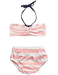 QUICKLYLY 2PCS Bañadores para Niñas Bikini Conjunto Traje de Vendaje Borla Baño Titular Top +Cintura Alta Inferior