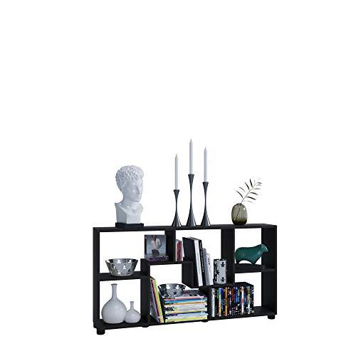 AISEN Regal PISA B mit 6 Fächern, Farbe Schwarz, Maße 113,5 x 63 x 20 cm
