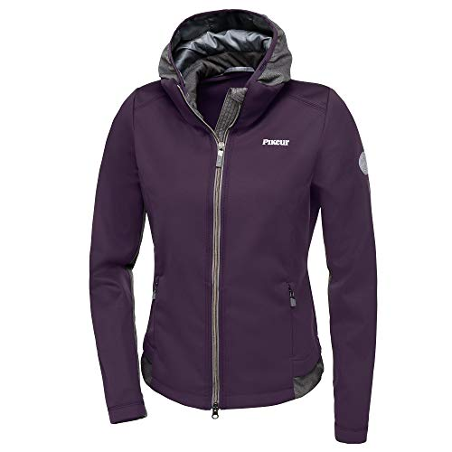 Pikeur Damen Softshell Jacke LAREEN mit Kapuze, Grape/Grey, 38