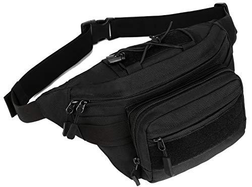 PlasMaller Military Gürteltasche Tactical Hüfttasche Pack Wasserabweisend Hüftgürtel Tasche Tasche für Wandern Klettern Outdoor Bauchtasche, Schwarz -