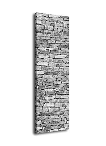 wandmotiv24 Garderobe Set Steinmauer Jackenständer Garderobenständer Wandgarderobe Flurgarderobe Garderobenset Wandpaneele, Farbe: Grau, Größe: 40x125cm