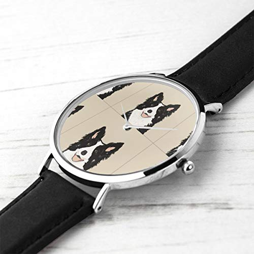 Unisex Ultra Thin Fashion Minimalist Armbanduhren Border Collie Hund mit Schnittlinien Hund Panel, Hund, schneiden und nähen wasserdicht Quarz Casual Watch Mens Womens -