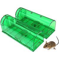 Rziioo 2 Piezas Humane Smart Mouse Trap Atrapa y Suelta roedores en Vivo, Seguro para niños y Mascotas,Green
