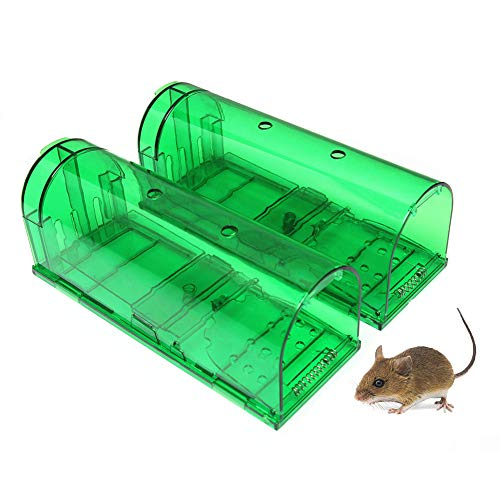 LJXiioo Humane Smart-Mausefalle Live Catch and Release Nagetiere, sicher um Kinder und Haustiere (2 Stück),Green